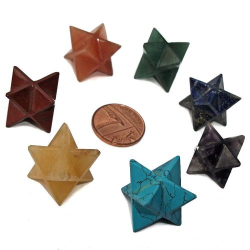 Set of 7 Chakra Sacred Merkaba Stars with Pouch